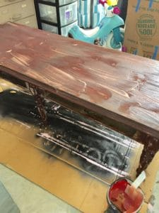 Lime washing a coffee table with Liming Wax