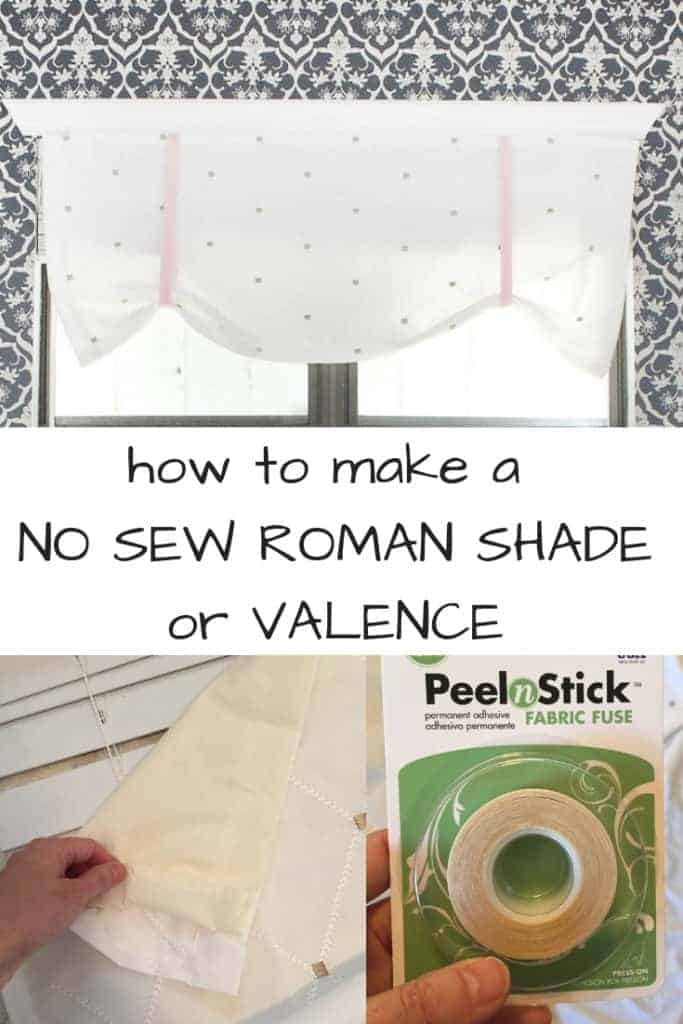 How to make a no sew roman shade or valence from a shower curtain