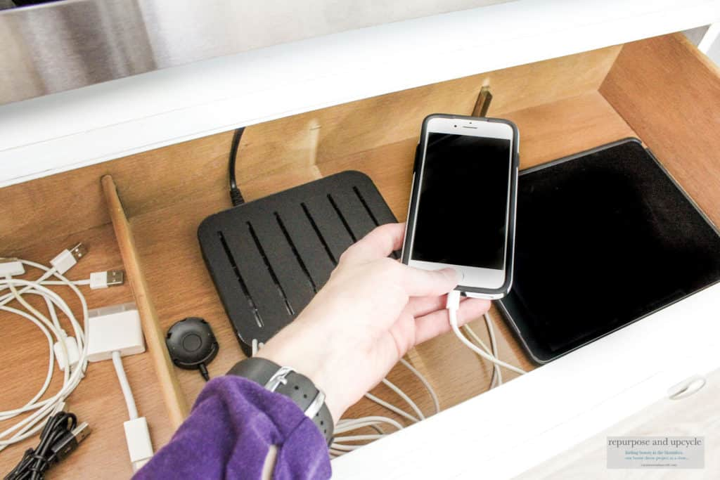 DIY family charging station in a drawer