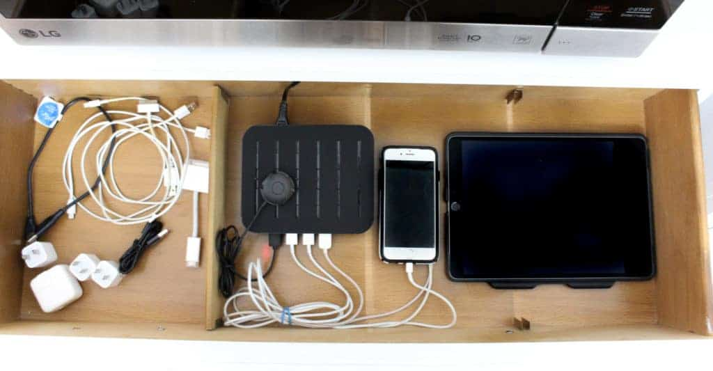 DIY Family Charging Station to Organize Cords and Devices 4