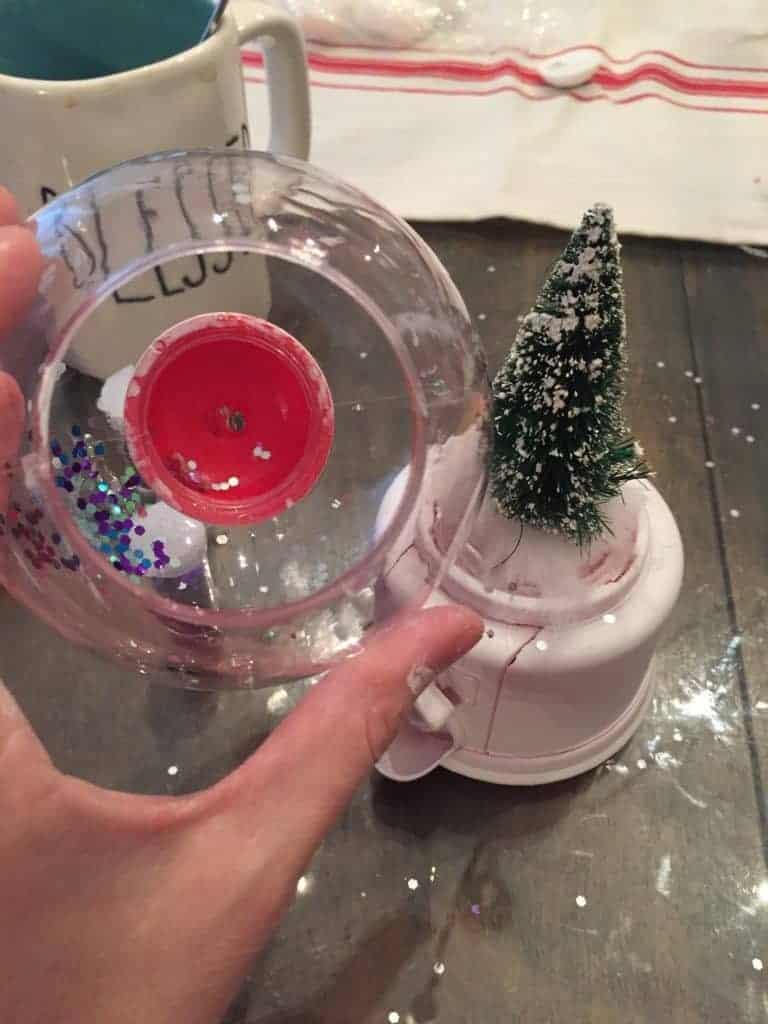adding Christmas tree to gum ball machine