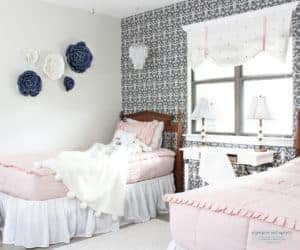 bedroom makeover with peel and stick wallpaper