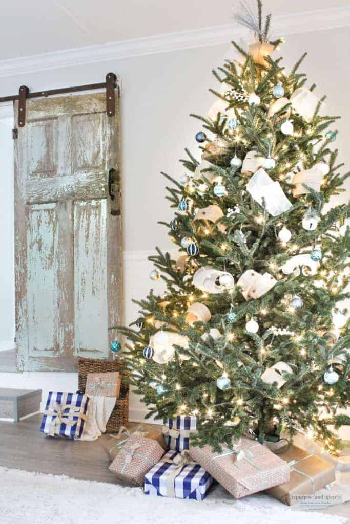 Coastal Christmas tree with blues, silver and natural colors.