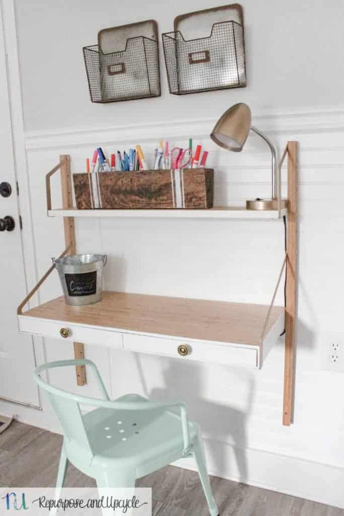 kids homework station with ikea svaln s wall mounted desk rh repurposeandupcycle com ikea wall desk canada ikea wall desk folding