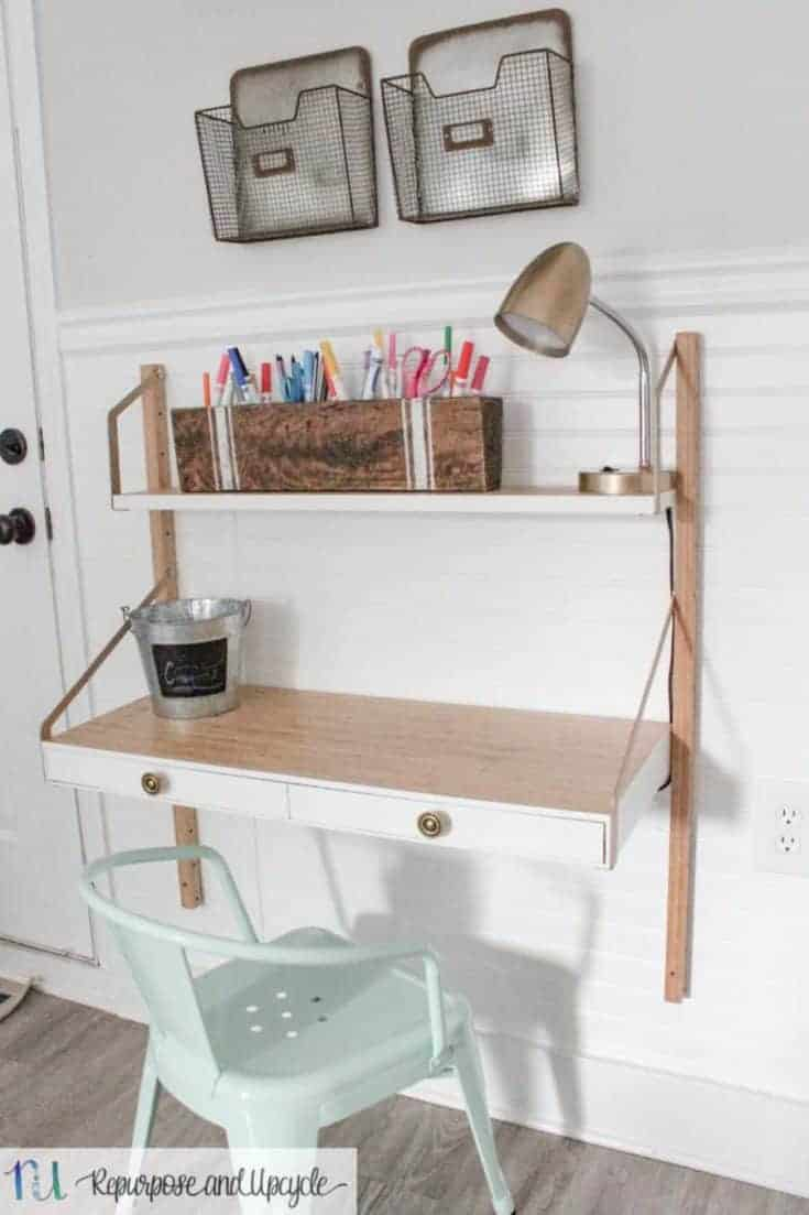 Homework Station (small office desk) with IKEA SVALNÄS Wall Mounted Desk