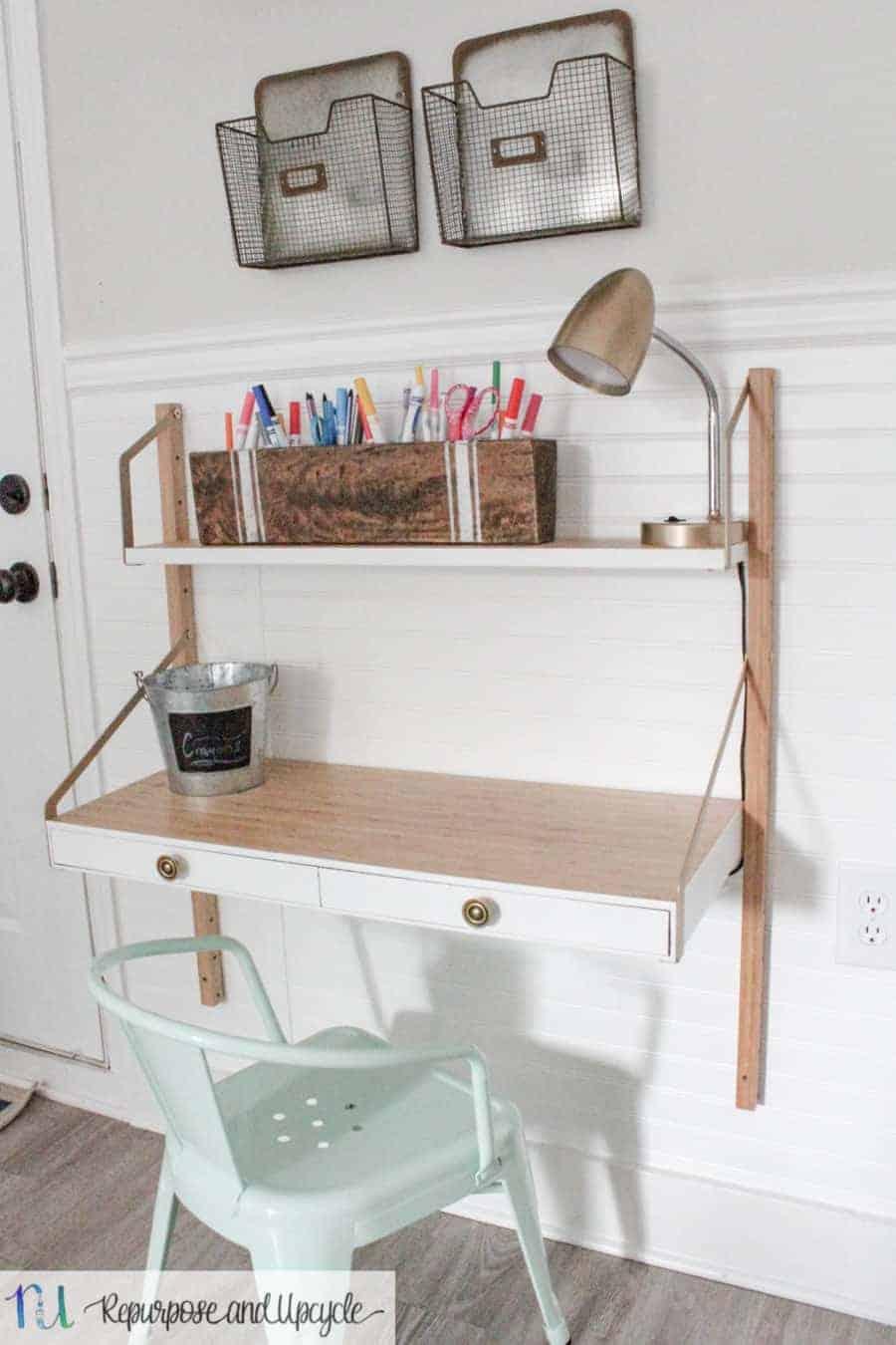 Kids Homework Station With Ikea Svalnas Wall Mounted Desk