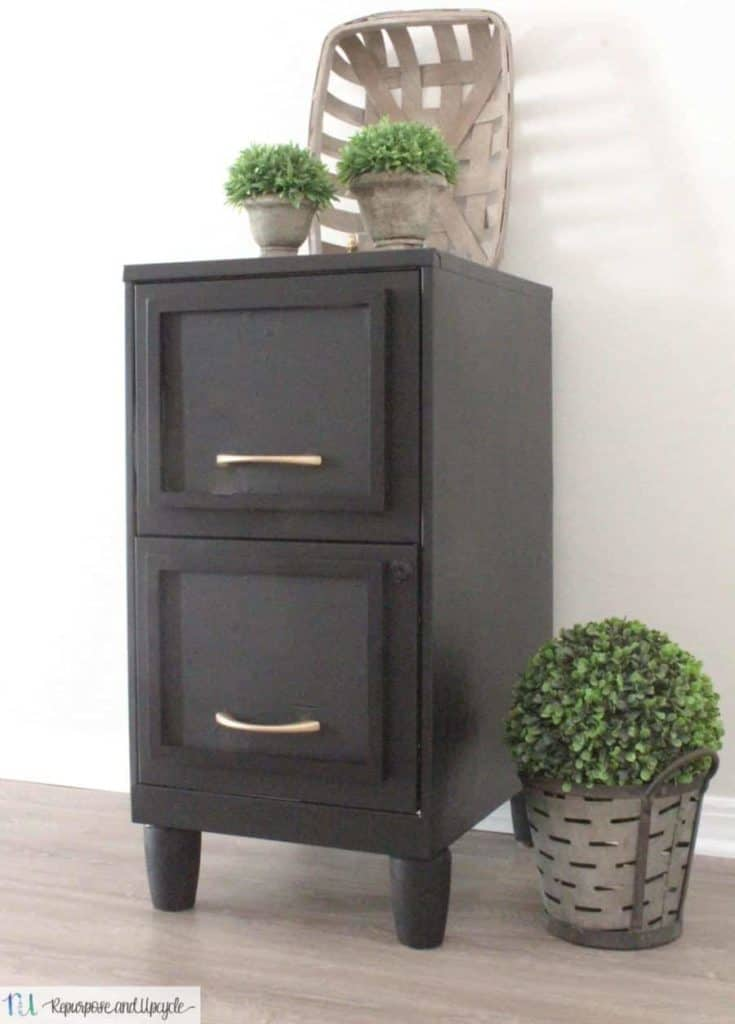 Easy Filing Cabinet Makeover with a Picture Frame and Paint