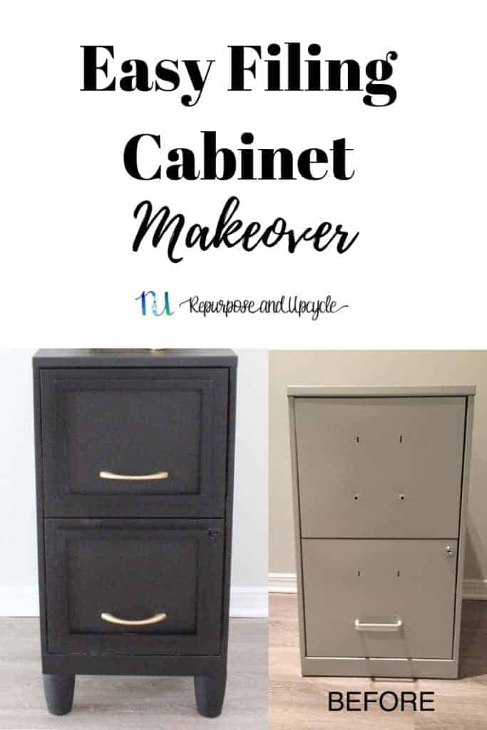 Easy Filing cabinet makeover before and after