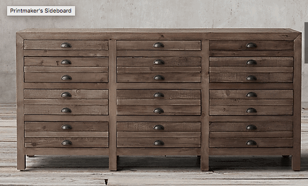 Restoration Hardware printmakers dresser