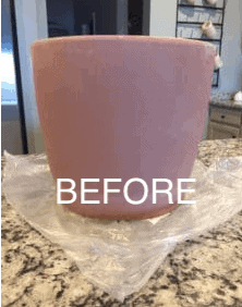 aging a clay terra cotta pot with paint