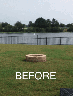 DIY fire pit BEFORE the pea gravel and pavers