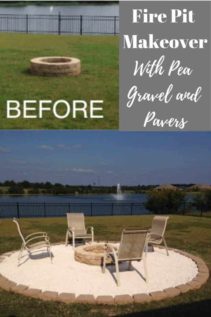 Fire pit makeover with pea gravel and pavers