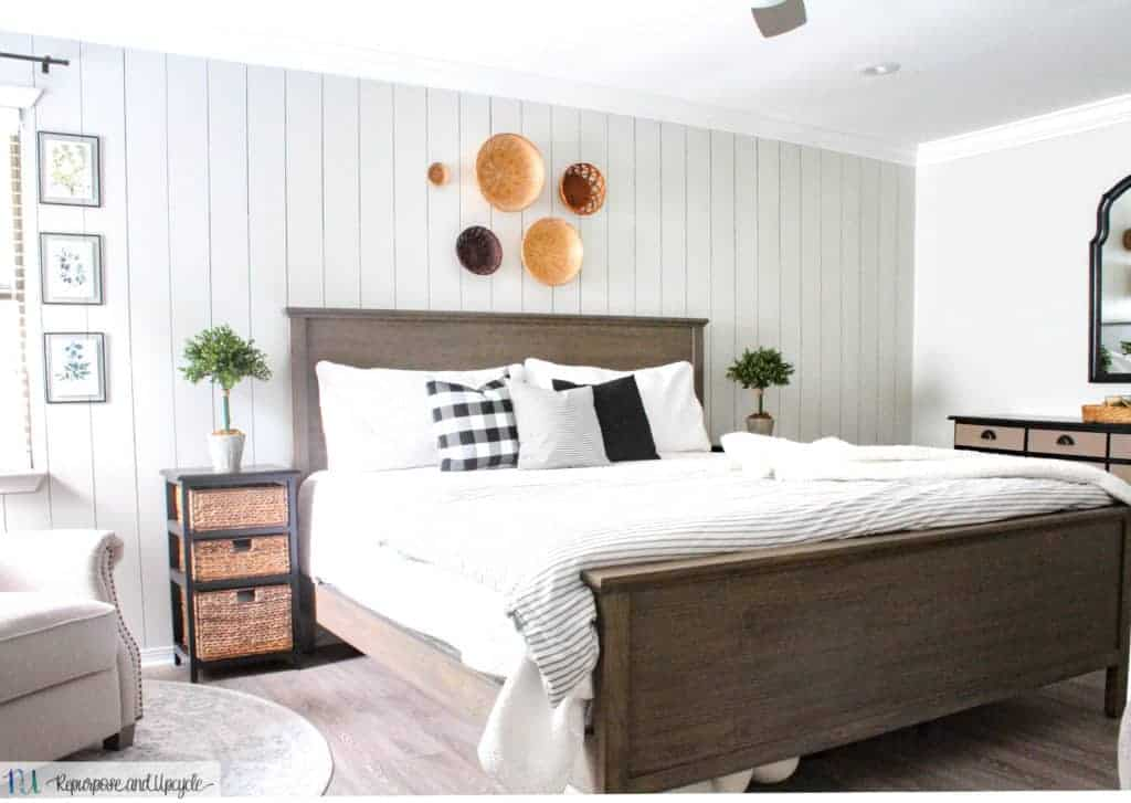 vertical shiplap in cottage style bedroom