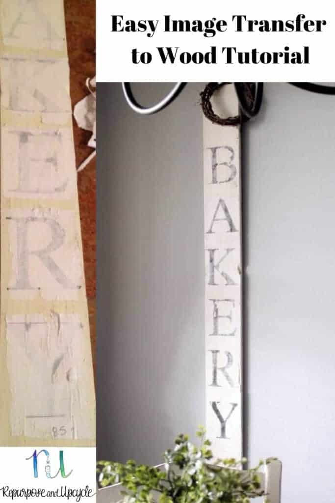 DIY bakery Sign with an easy image transfer to wood tutorial