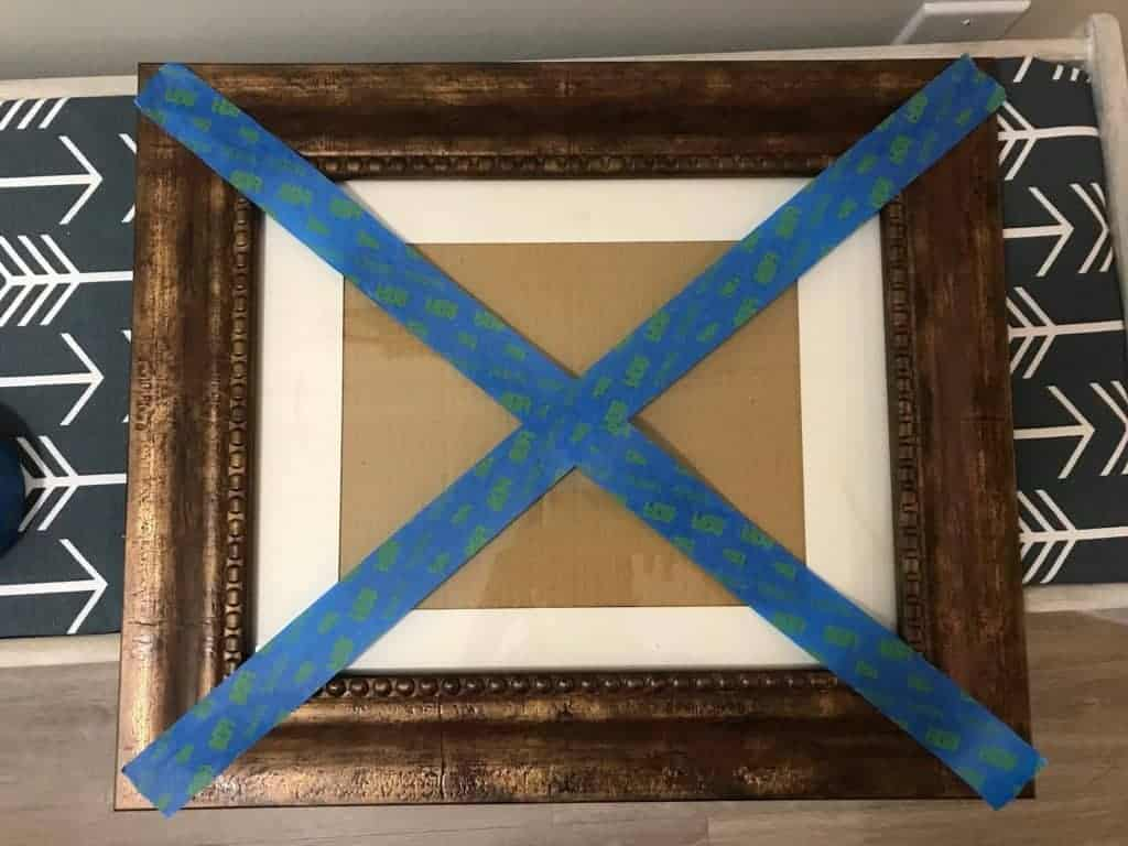 use painters tape to find center of frame
