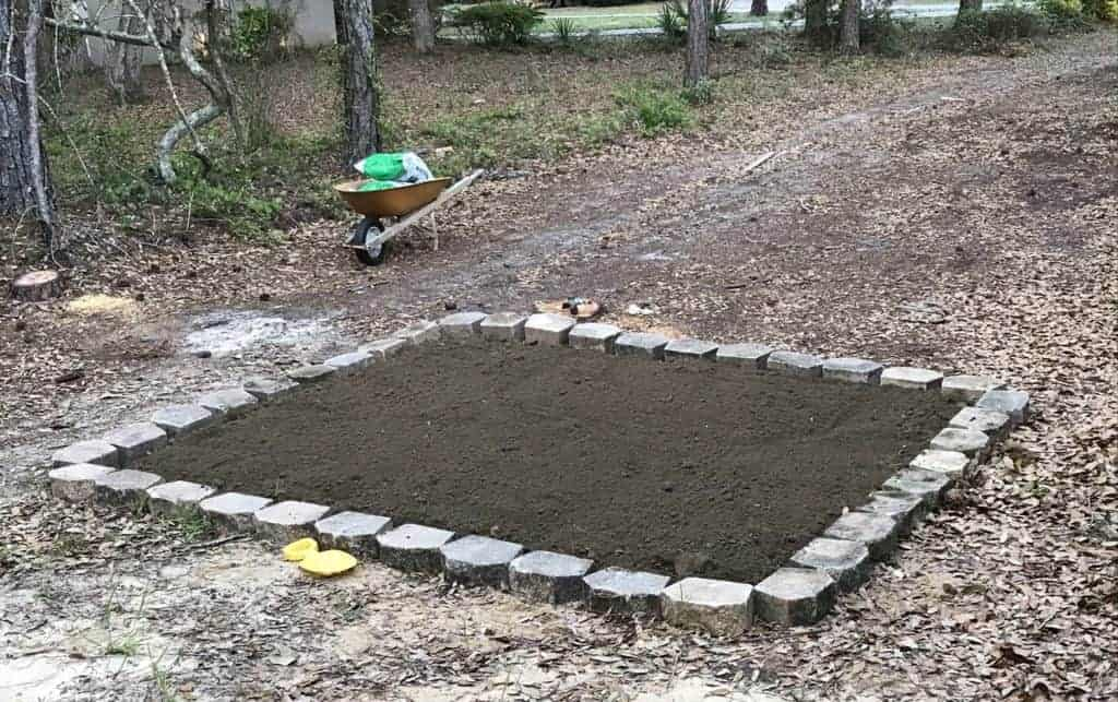the garden with top soil and pavers