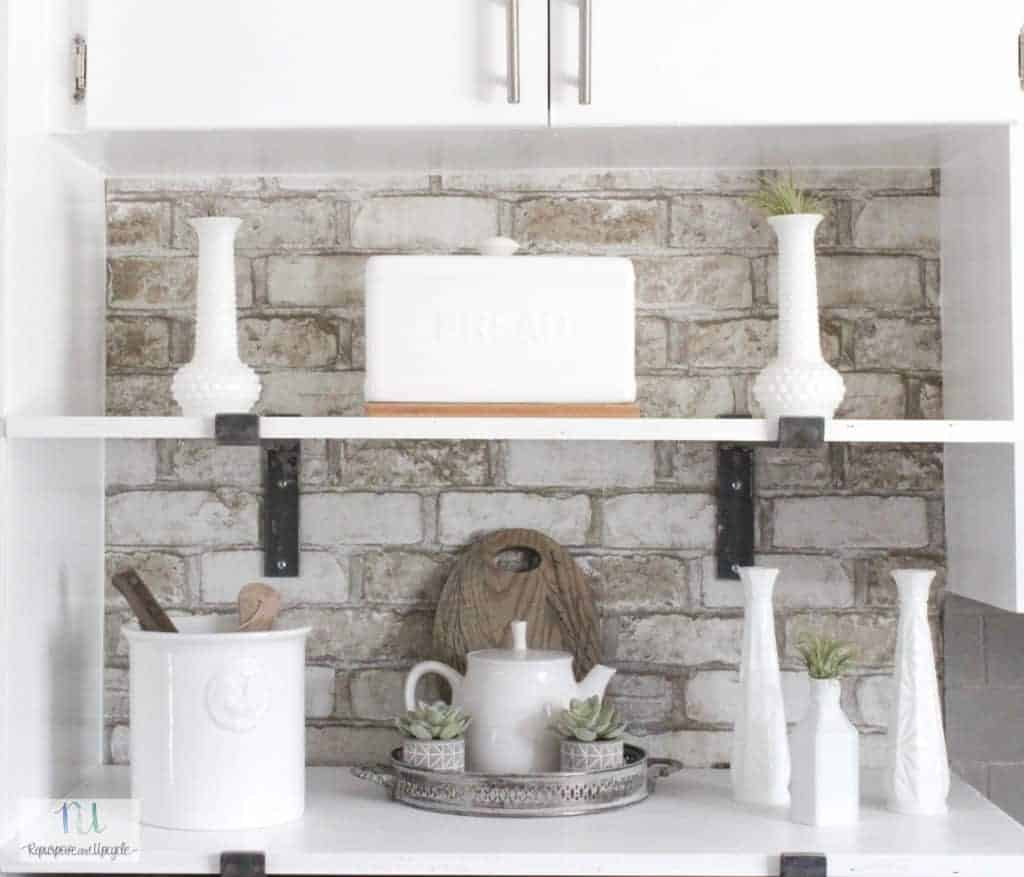 kitchen nook makeover with open shelves