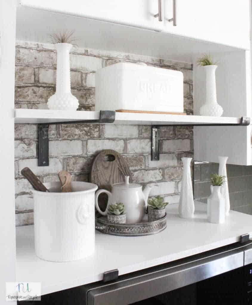 DIY kitchen cubby with open shelves