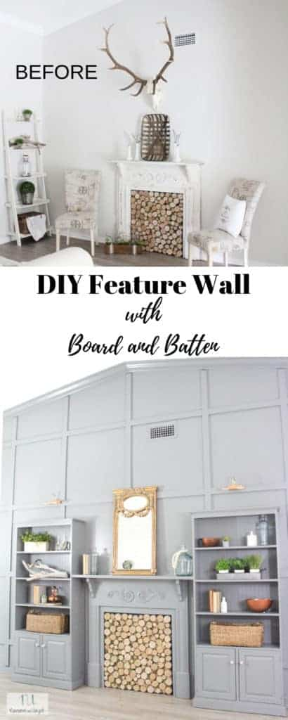 DIY Wall of Built In Bookshelves