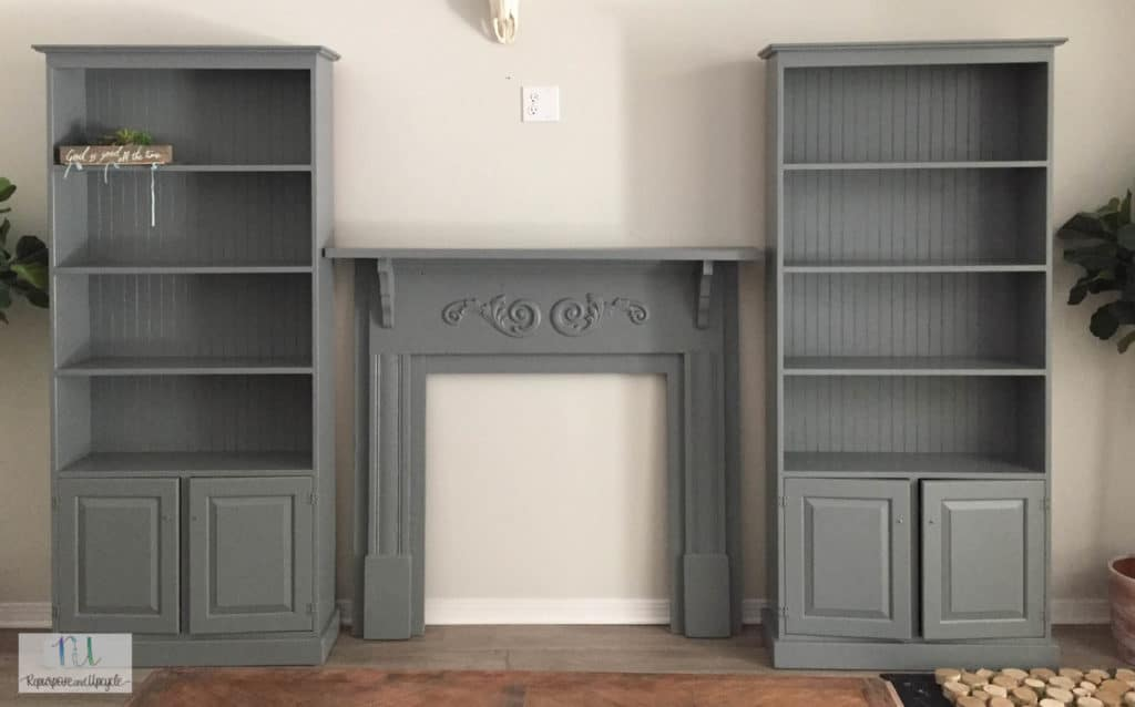 bookcases and mantel