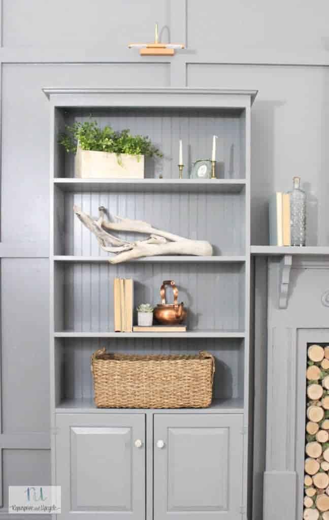 DIY Wall of Built In Bookshelves
