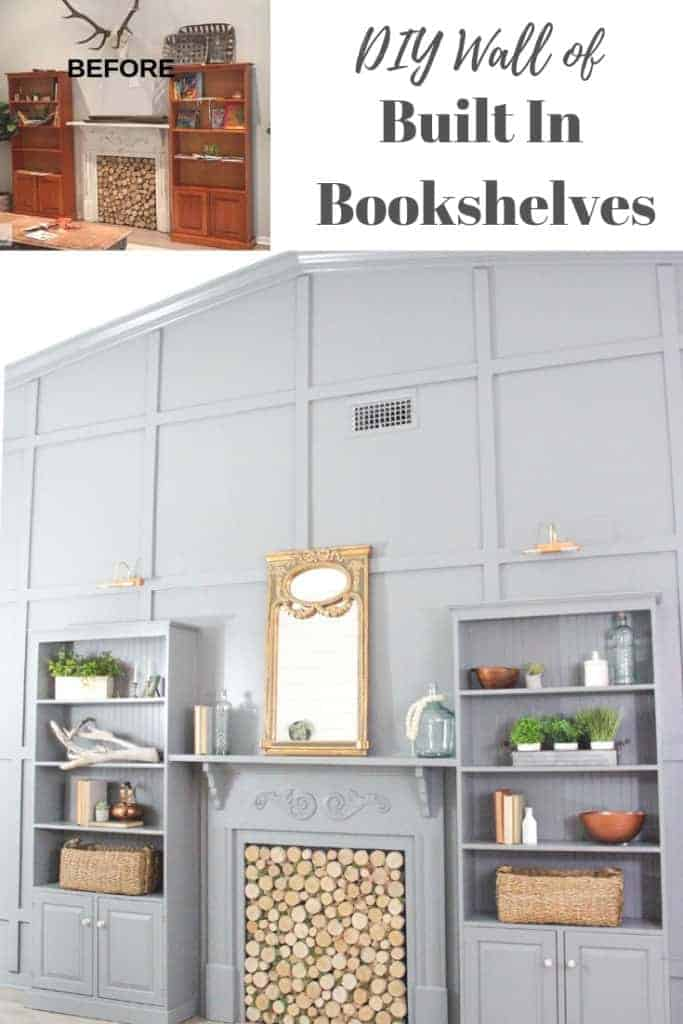 DIY tone on tone feature wall of built in bookshelves