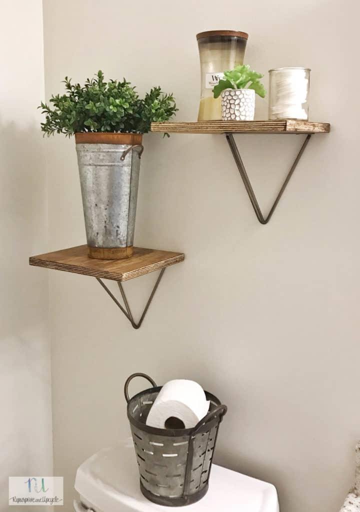 DIY bathroom shelves with prism brackets