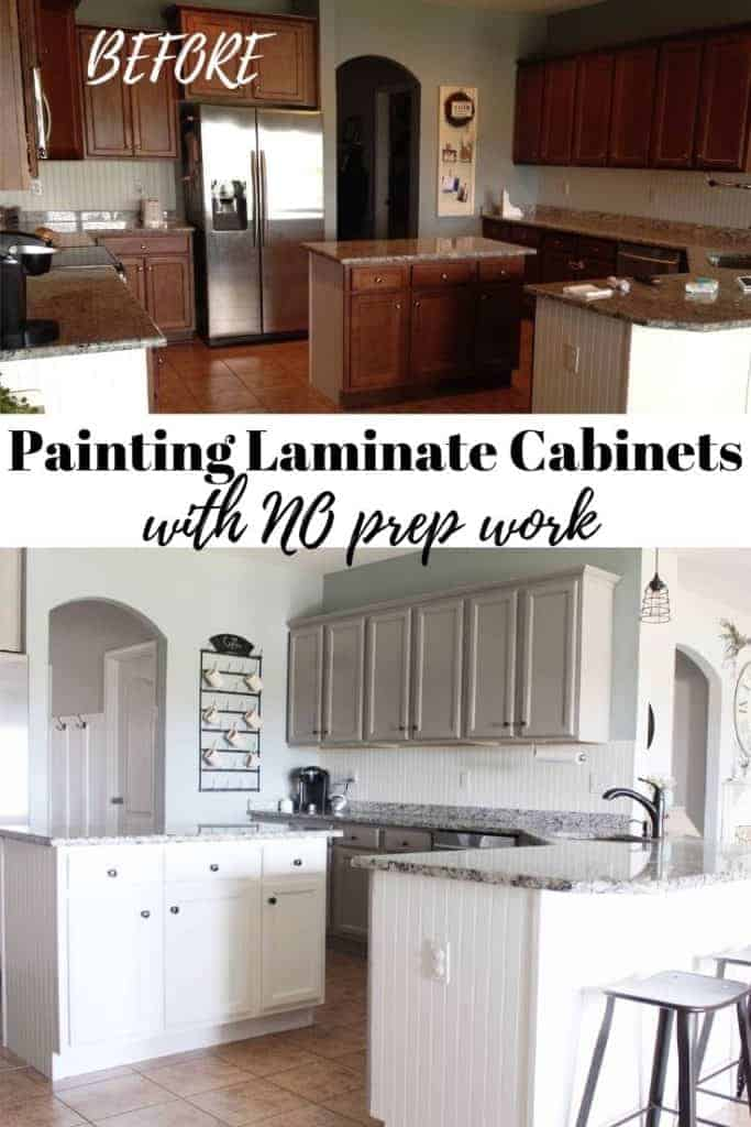 Painting laminate cabinets with no sanding