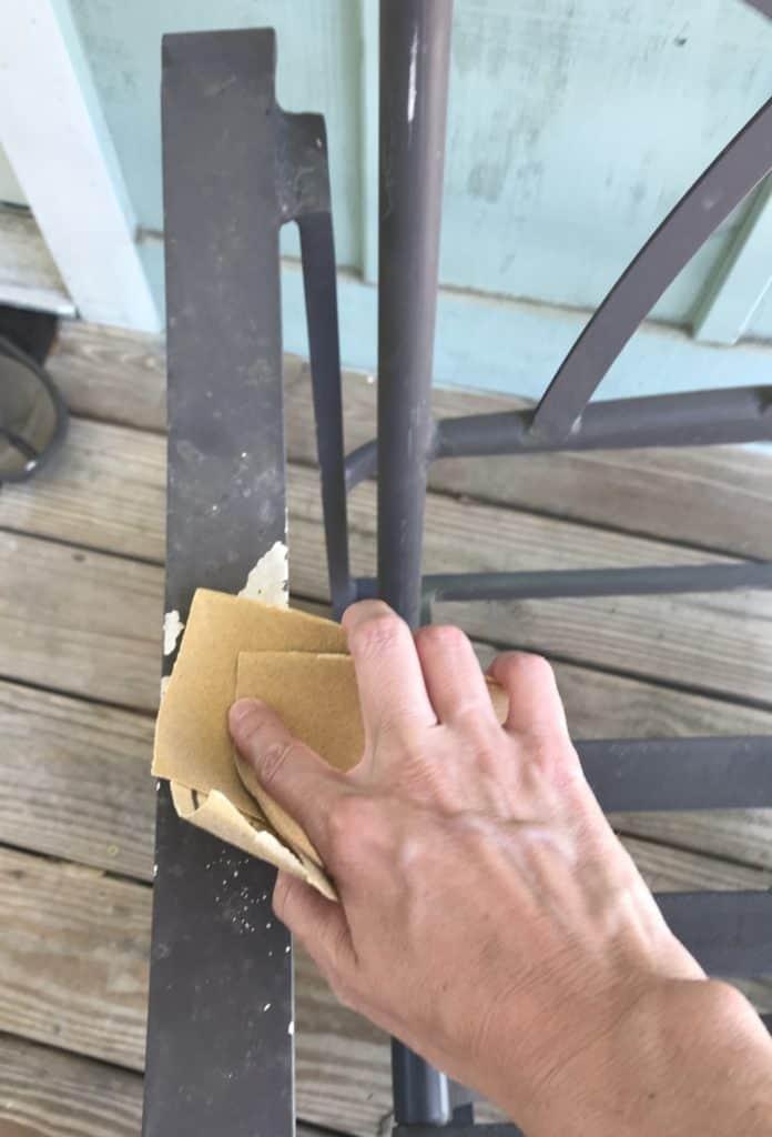 sanding metal furniture