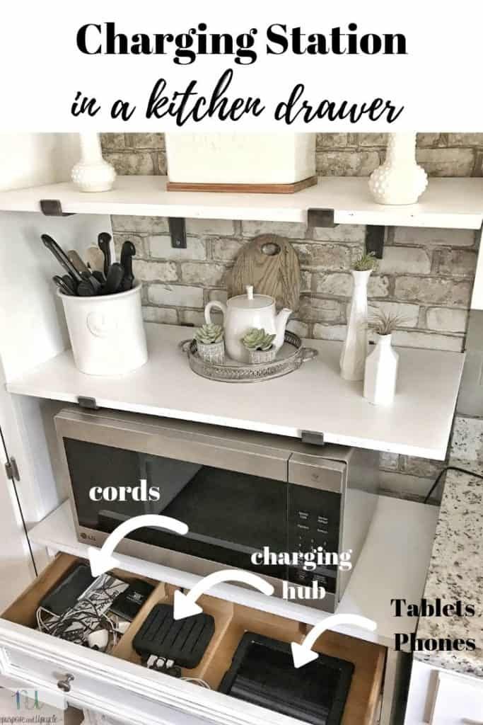 charging station in a kitchen drawer