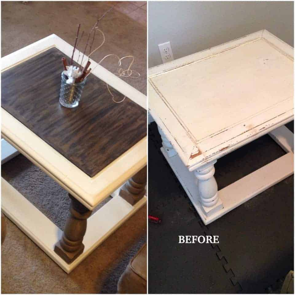 milk painted coffee table upcycle