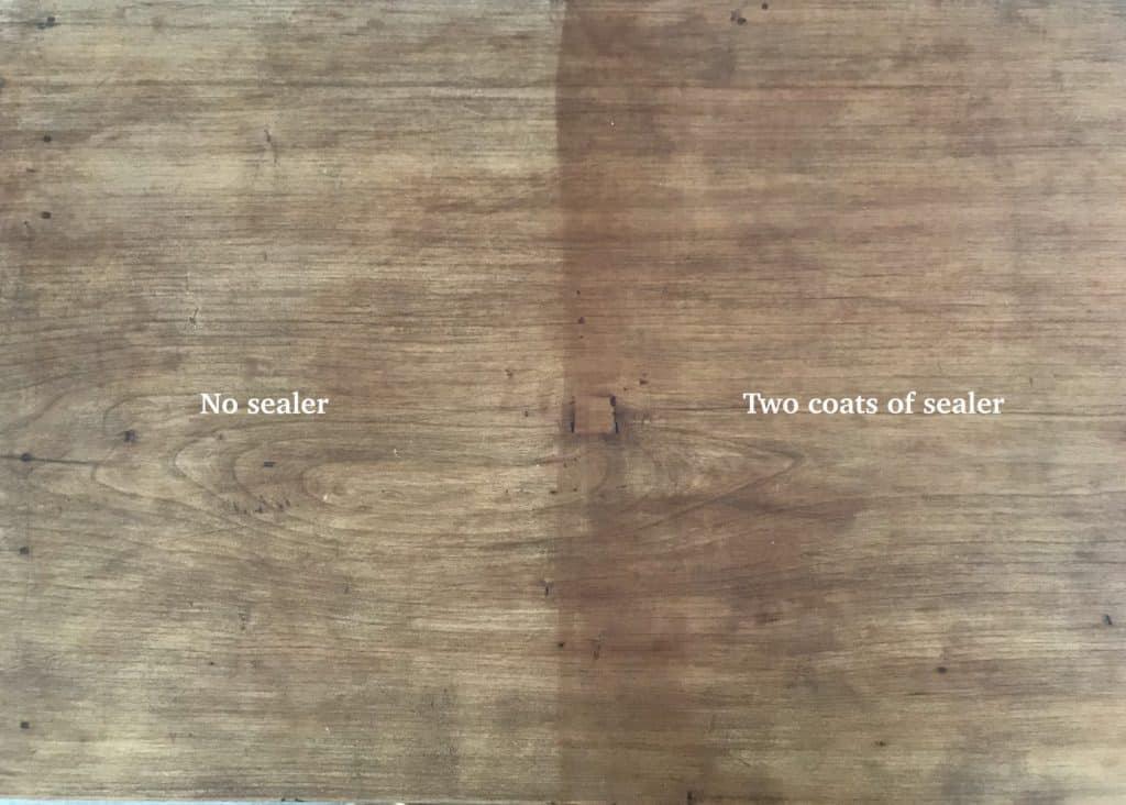 sealer vs. no sealer on wood