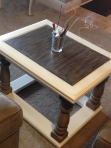 milk painted coffee table with dark wax