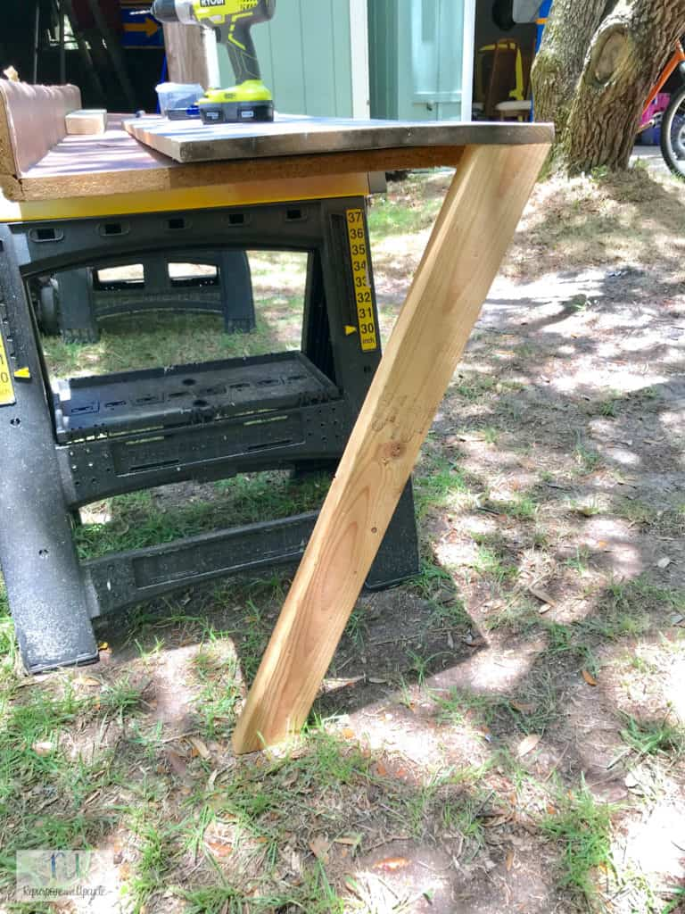 side view of building the X style sofa table