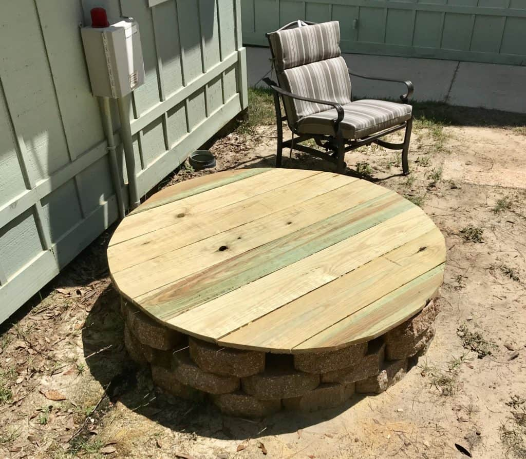 Outdoor Table to Hide a Grinder Pump Well