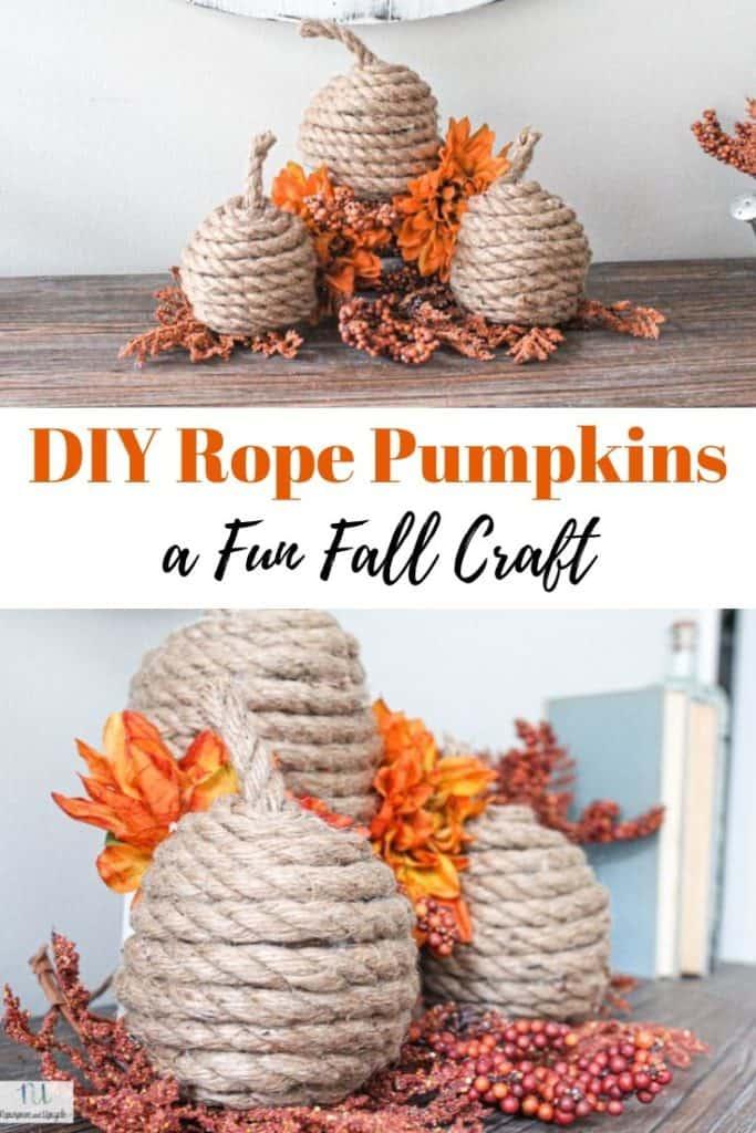 DIY rope pumpkins fall craft