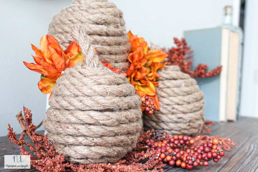 DIY rope pumpkins fall craft