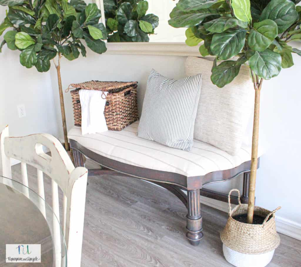 bench makeover with wood stain over wood stain