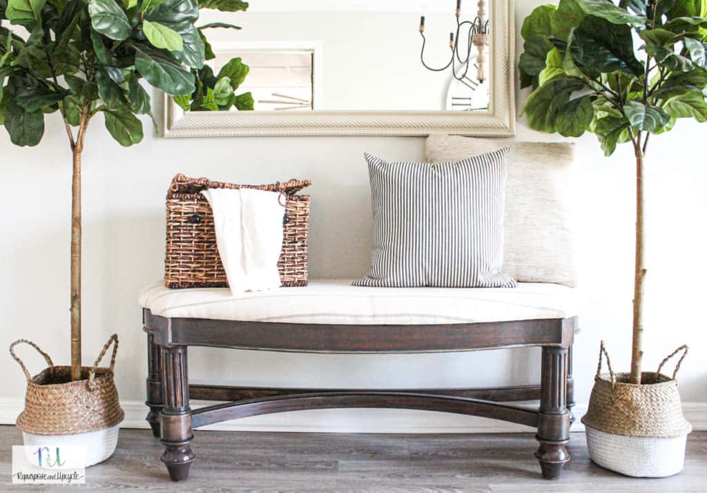 styled wood bench
