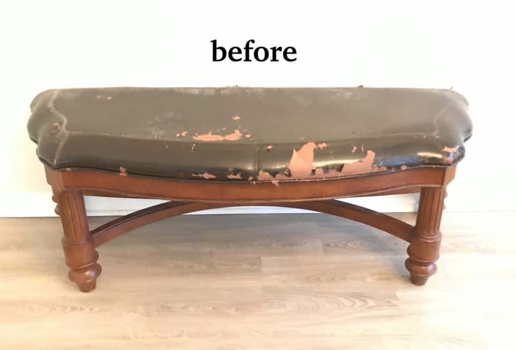 the bench before wood stain
