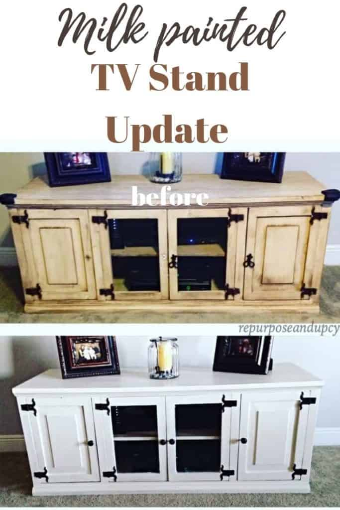 milk painted tv stand update