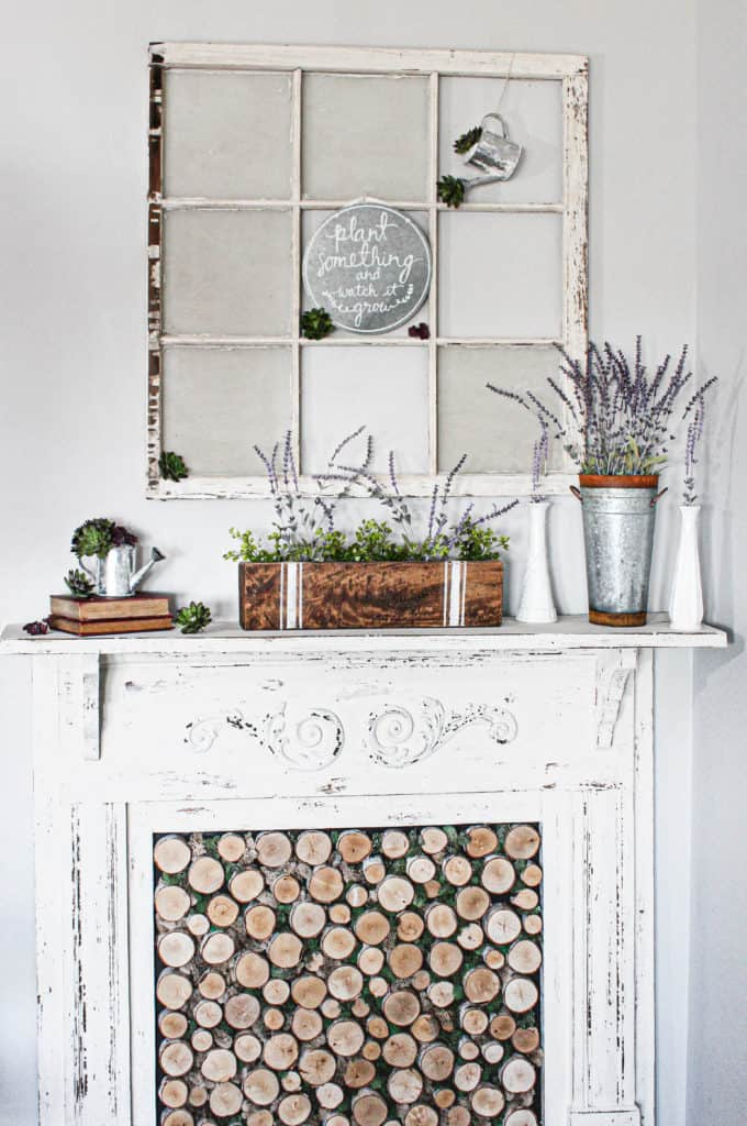 spring decorated mantel