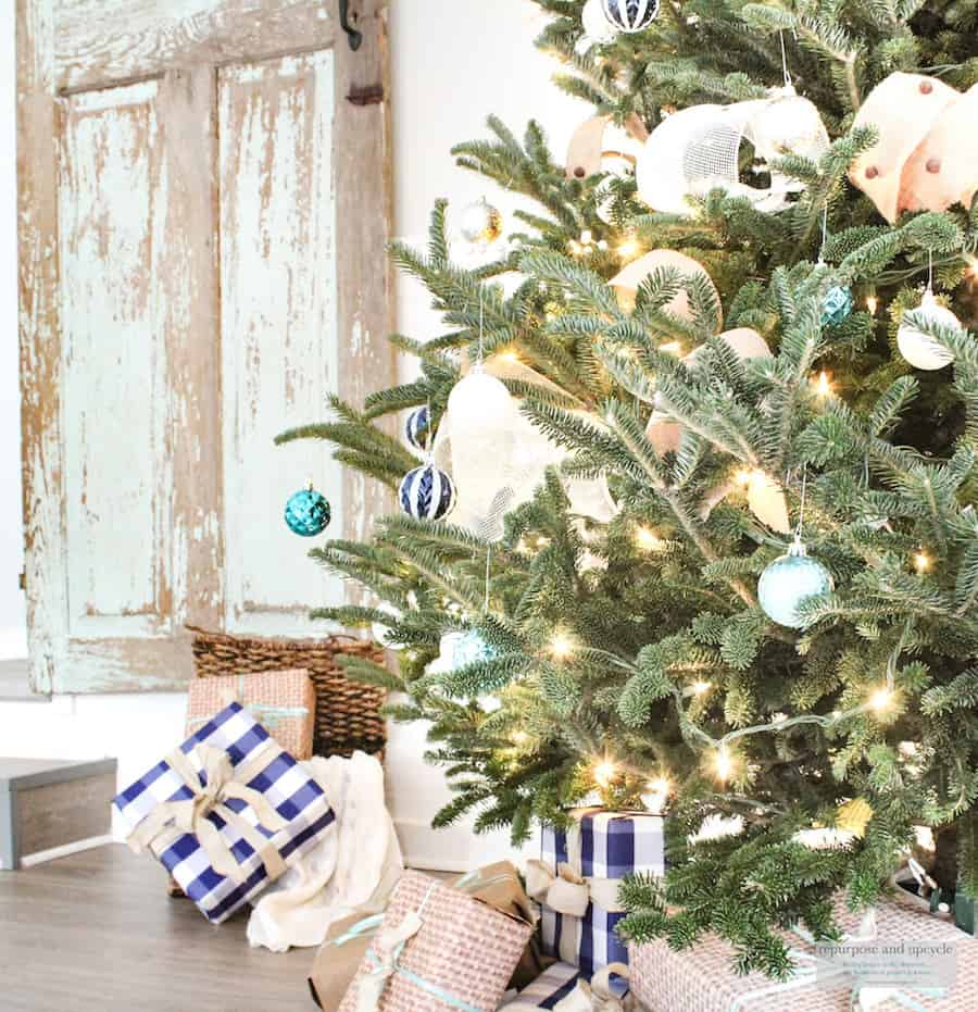 coastal Christmas theme with blues and natural colors