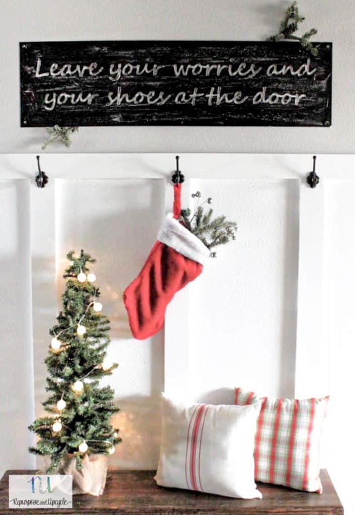 Christmas mudroom