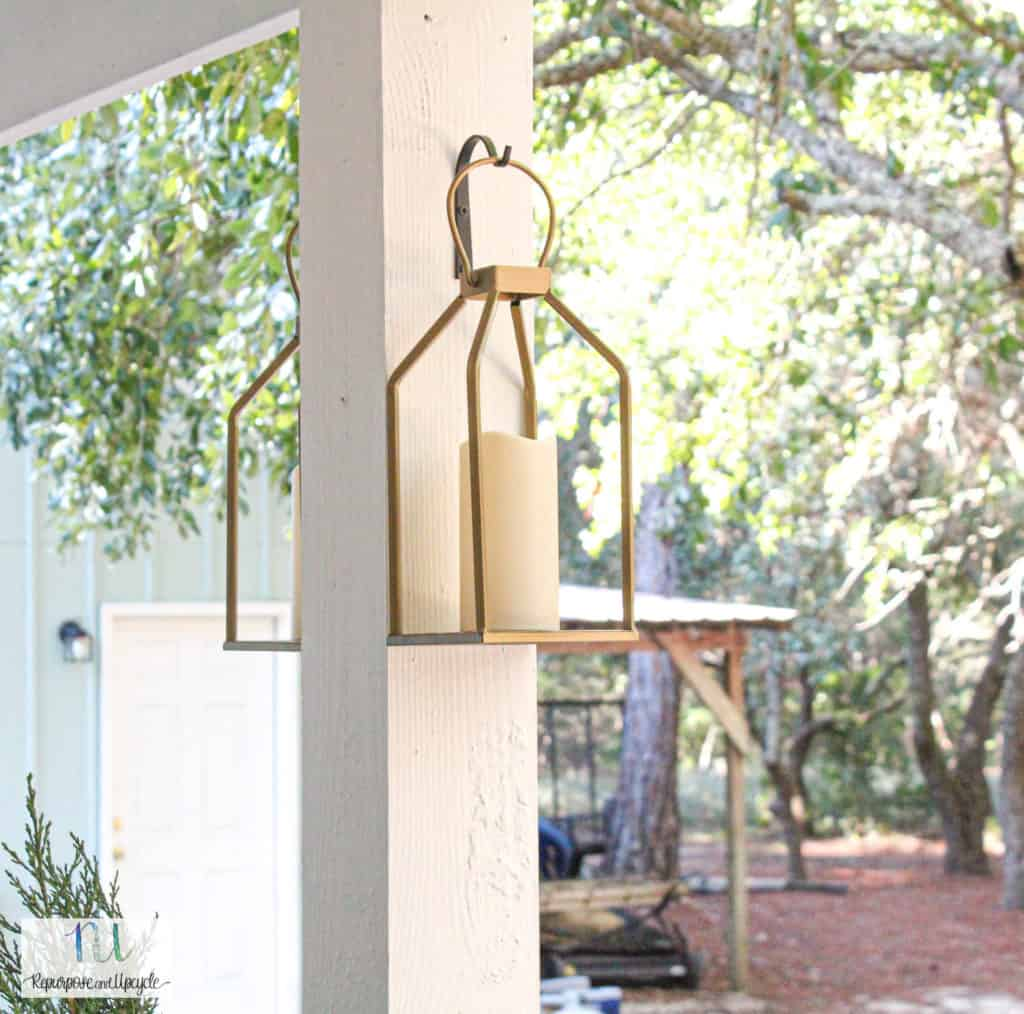 Cottage style back porch makeover lighting