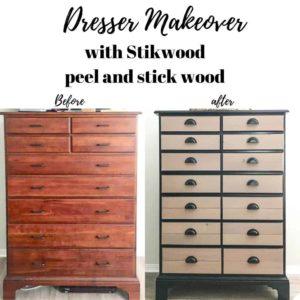 Dresser makeover with Stikwood