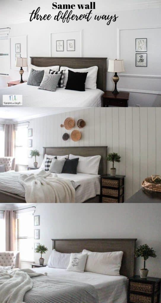 same wall three different wall treatments