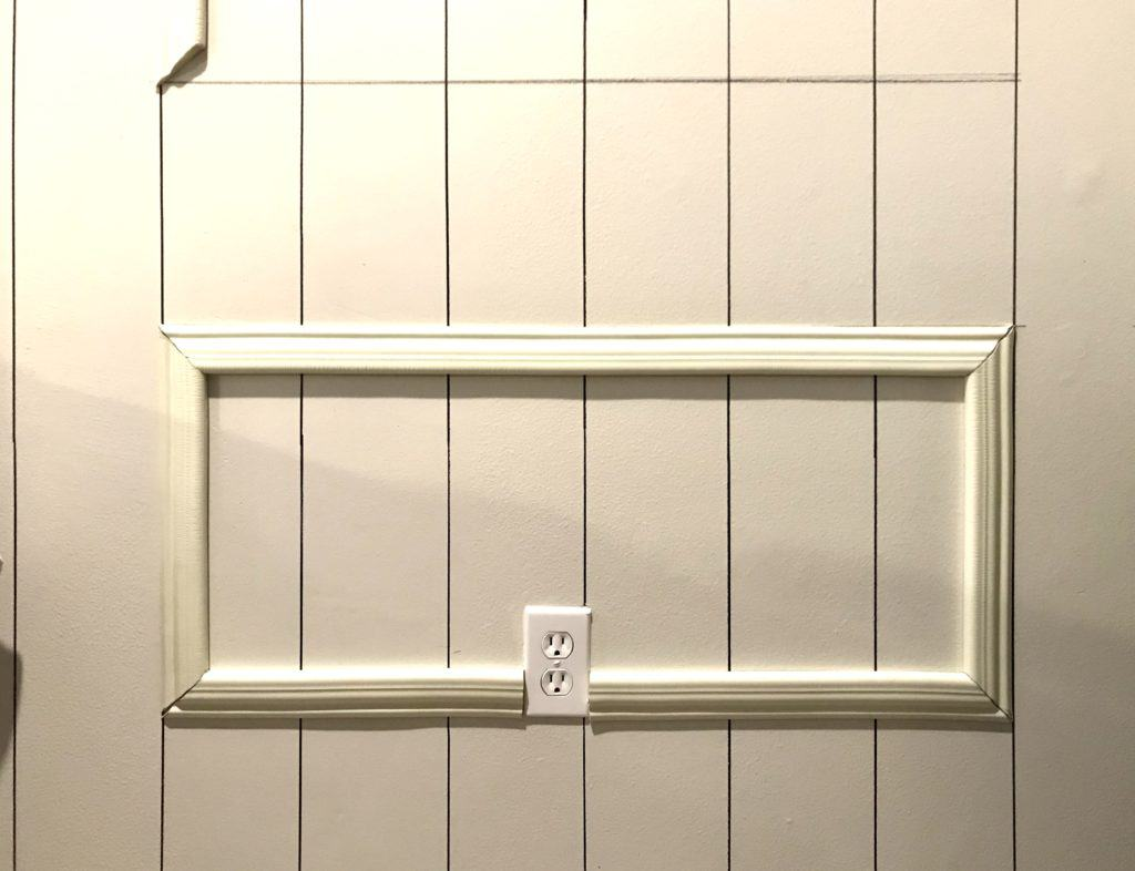 applying moulding around an electrical outlet