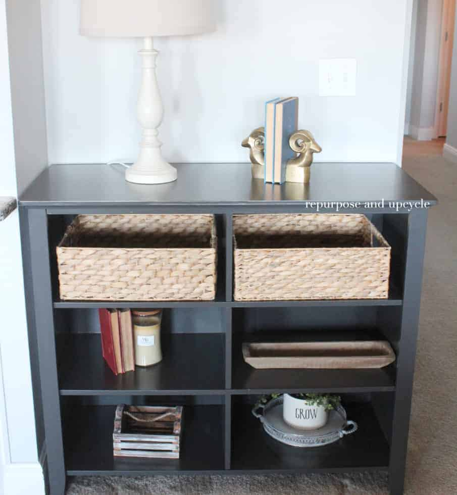 chalky spray painted bookcase