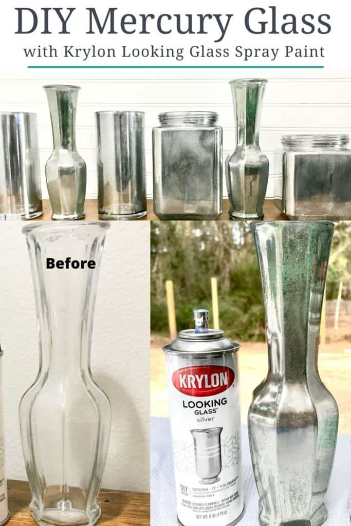 DIY mercury glass with Krylon Looking Glass spray paint